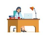 Manipulera arbete i hans kontor bak datoren, dokument av patienter stock illustrationer