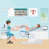 Manipulera att kontrollera patienten på gynekologisk stol i gynekologiskt stock illustrationer