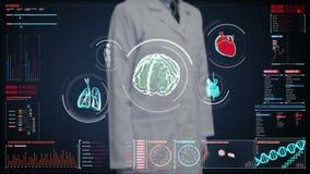 Manipulera den rörande digitala skärmen, den avläsande hjärnan, hjärta, lungor, inre organ i instrumentbräda för digital skärm rö stock illustrationer