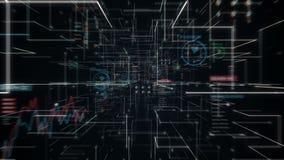 Manipulera den rörande hjärnan, förbind digitala linjer i digital skärm som netto utvidgar linjen tunnel för konstgjord intellige