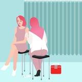 Manipulera eller vårda lokalvårdsårhanden till den sårade manpatienten i klinik- eller sjukhusbakgrund Royaltyfri Bild