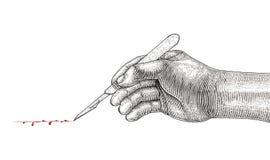 Manipulera Hand den hållande skalpellet, kirurgisk teckningstappningstil på wh royaltyfri illustrationer