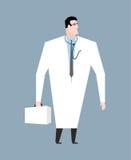 Manipulera i vit täcker Doc med stetoskopet Medicinsk arbetare med stock illustrationer