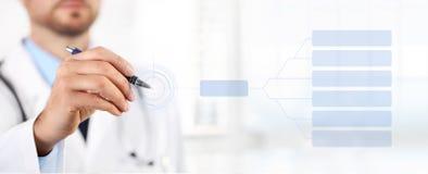 Manipulera pekskärmen med ett medicinskt vård- begrepp för penna Royaltyfria Bilder