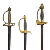 Manipulez les vieilles épées d'isolement sur le fond blanc Photos stock