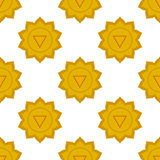 Manipura - ηλιακό chakra πλεγμάτων τρίτο σύμβολο chakra Άνευ ραφής σχέδιο Στοκ Φωτογραφίες