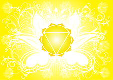 Manipura Chakra. Manipura (third chakra) symbol illustration in yellow and white Royalty Free Stock Images