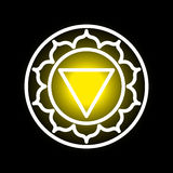 Manipura chakra icon. Vector Manipura chakra icon. Color yoga chakra symbol on black. Great for design, associated with yoga and India. Energetic point from Royalty Free Stock Photos