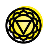 Manipura chakra icon. Vector Manipura chakra icon. Color yoga chakra symbol on white. Great for design, associated with yoga and India. Energetic point from Stock Images