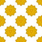 Manipura - słonecznego plexus chakra trzeci chakra symbol Bezszwowy wzór Zdjęcia Stock