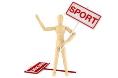 Maniquí de madera con la bandera del deporte Fotografía de archivo libre de regalías