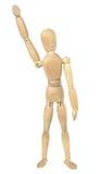 Maniquí de madera con una mano para arriba en el aire Imágenes de archivo libres de regalías