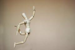 Maniquí de madera de salto Fotografía de archivo