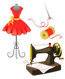 Maniquí, vestido, máquina de coser aislada Fotografía de archivo libre de regalías