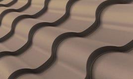 Manière foncée onduleuse impressionnante de texture de biseau de tuile en métal de Brown Photographie stock libre de droits