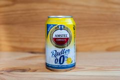 MANISES, VALENCIA/SPAIN - JANUARY 27 2019: Can of Amstel Radler 0.0 alcohol free beer stock photo