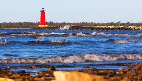 Manistique East Breakwater Lighthouse on a Windy Day Royalty Free Stock Image