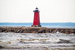 Manistique Lighthouse in Michigan Royalty Free Stock Photos