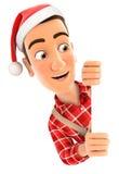 manitas 3d con el sombrero de la Navidad que mira furtivamente sobre la pared Foto de archivo
