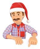 manitas 3D que señala abajo con un sombrero de Santa Claus Espacio en blanco Foto de archivo