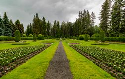 Manito公园在多云天在斯波肯 免版税库存图片