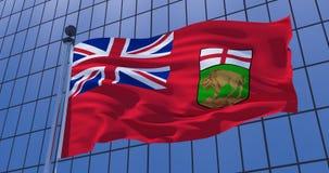 Manitoba flag, Canada, on skyscraper building background. 3d illustration stock photo