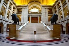 Manitoba Legislature. Main level at the Manitoba Legislature, with bison statues Royalty Free Stock Image