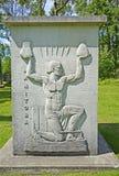 Manitoba stenskulptur i Guildwood parkerar i Toronto arkivbild
