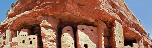 Manitou Cliff Dwellings panorama. Manitou Springs, CO/USA - September 9, 2016: A panoramic photo of the Manitou Cliff Dwellings in Manitou Springs, Colorado Royalty Free Stock Photography