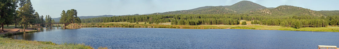 Manitou lake panorama 1. True wide panorama of Manitou Lake and picnic grounds in the mountains of central Colorado Stock Image