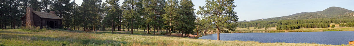Manitou lake panorama 3. True wide panorama of Manitou Lake and picnic grounds in the mountains of central Colorado Royalty Free Stock Images