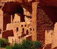 Manitou Springs Cliff Dwellings. Ancient Anasazi Native Americans cliff dwelling in Colorado royalty free stock photos