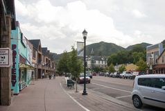 Manitou Springs Colorado street. Manitou Springs, CO/USA - September 6, 2016 - A view of Manitou Avenue in Manitou Springs, Colorado Royalty Free Stock Photos