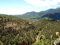 Manitou Springs. The mountains around Manitou Springs, Colorado as seen from the overlook at Cave of the Winds Stock Photo