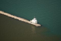 Manitowoc wisconsin light house. Aerial view of Manitowoc wisconsin light house Stock Photography