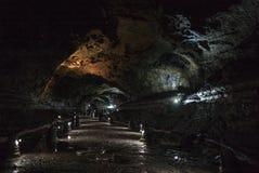 Manjanggul Lava Tube Cave fotografia stock libera da diritti