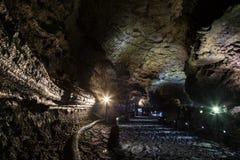 Manjanggul Lava Tube Cave na ilha de Jeju em Coreia do Sul imagens de stock royalty free