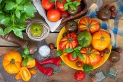 Manjericão e tomates frescos Foto de Stock Royalty Free