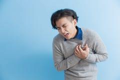 Mankänselhjärta smärtar arkivfoto