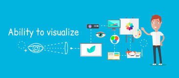 Mankapacitet att visualisera begrepp Arkivfoto