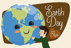 Mankind Embracing Cute Planet for Earth Day Holiday, Vector Illustration Royalty Free Stock Image