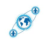 Mankind and Person conceptual logo, unique vector symbol created Royalty Free Stock Photography