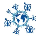 Mankind and Person conceptual logo, unique vector symbol created Royalty Free Stock Images