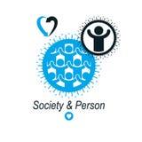 Mankind and Person conceptual logo, unique vector symbol created Stock Photo