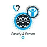 Mankind and Person conceptual logo, unique vector symbol created Royalty Free Stock Image
