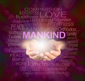 Mankind World Religions word cloud. Female cupped hands with a ball of light and the word MANKIND floating above, surrounded by a relevant word cloud on a stock photography