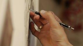 Mankonstnärattraktioner med en grafitblyertspenna arkivfilmer