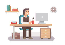 Mankontorsarbetare stock illustrationer