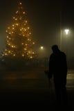 Mankontur med julträdet Royaltyfri Bild