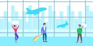 Mankvinnafolk som rymmer den tomma skylten för möteplakat i för korridoravvikelse för flygplats väntande inre för ankomst slutlig royaltyfri illustrationer